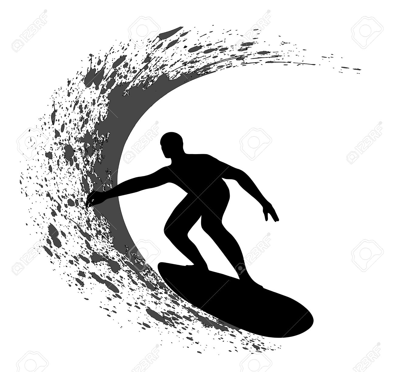 Surfer silhouette on grunge background Stock Vector - 17014069