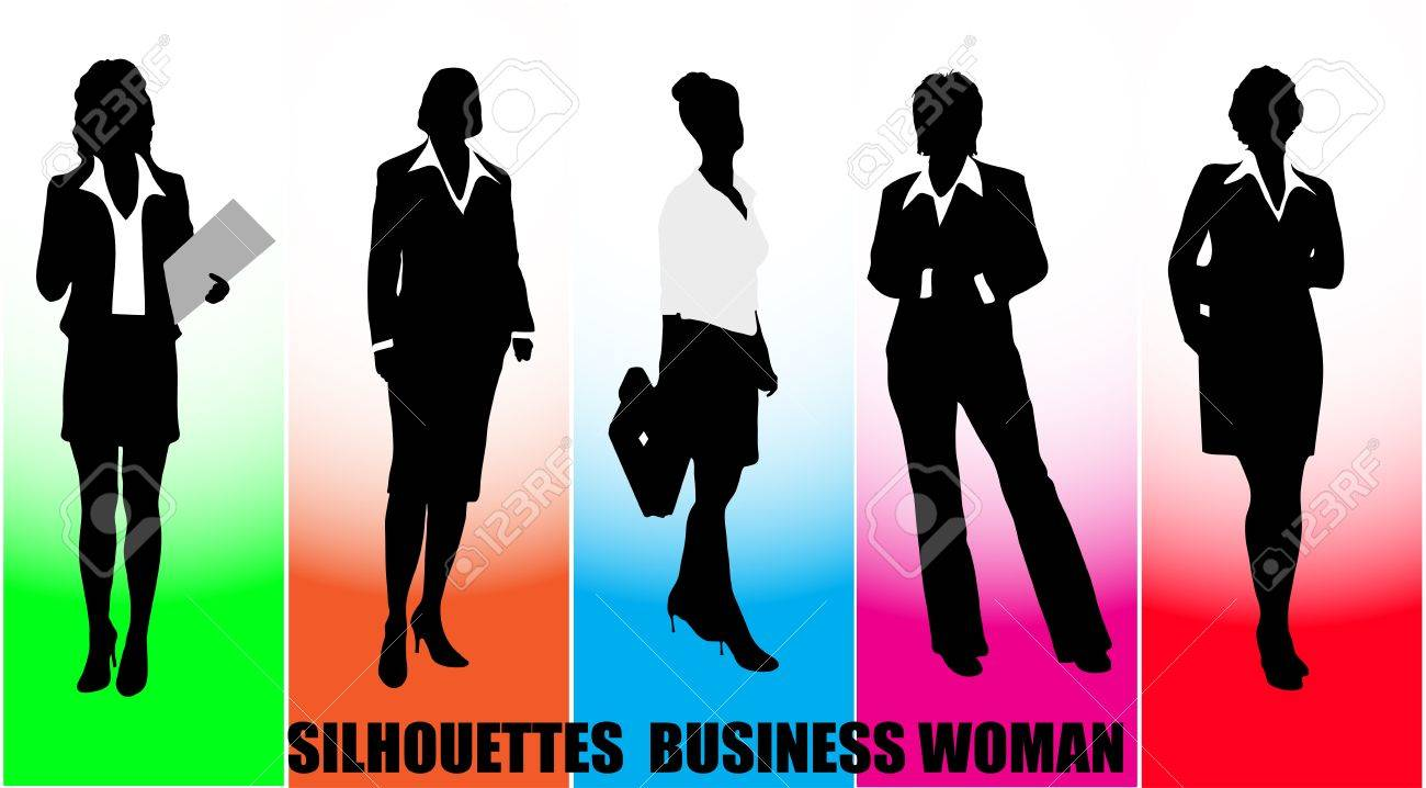 on the image silhouettes of the business woman are presented Stock Vector - 17107952