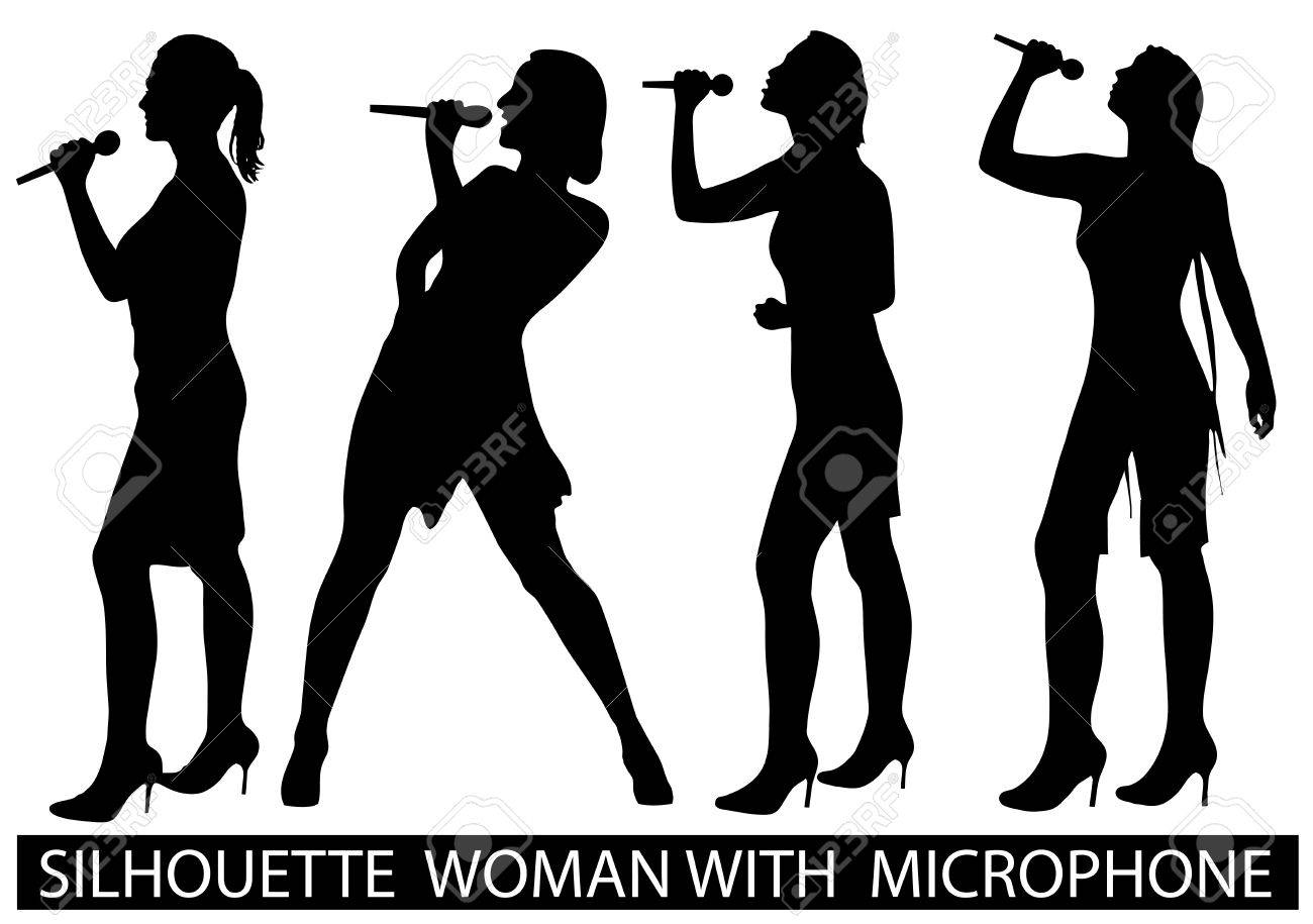 on the image are presented a silhouette of people with a microphone Stock Vector - 17157216