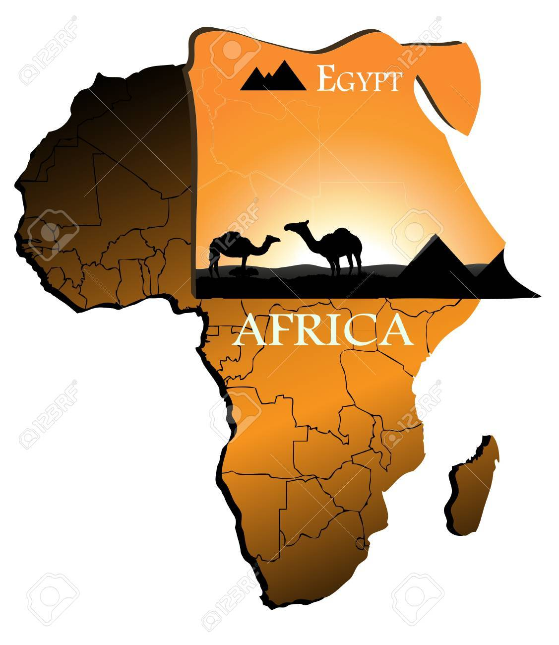 Egypt on the map of Africa Stock Vector - 18765556