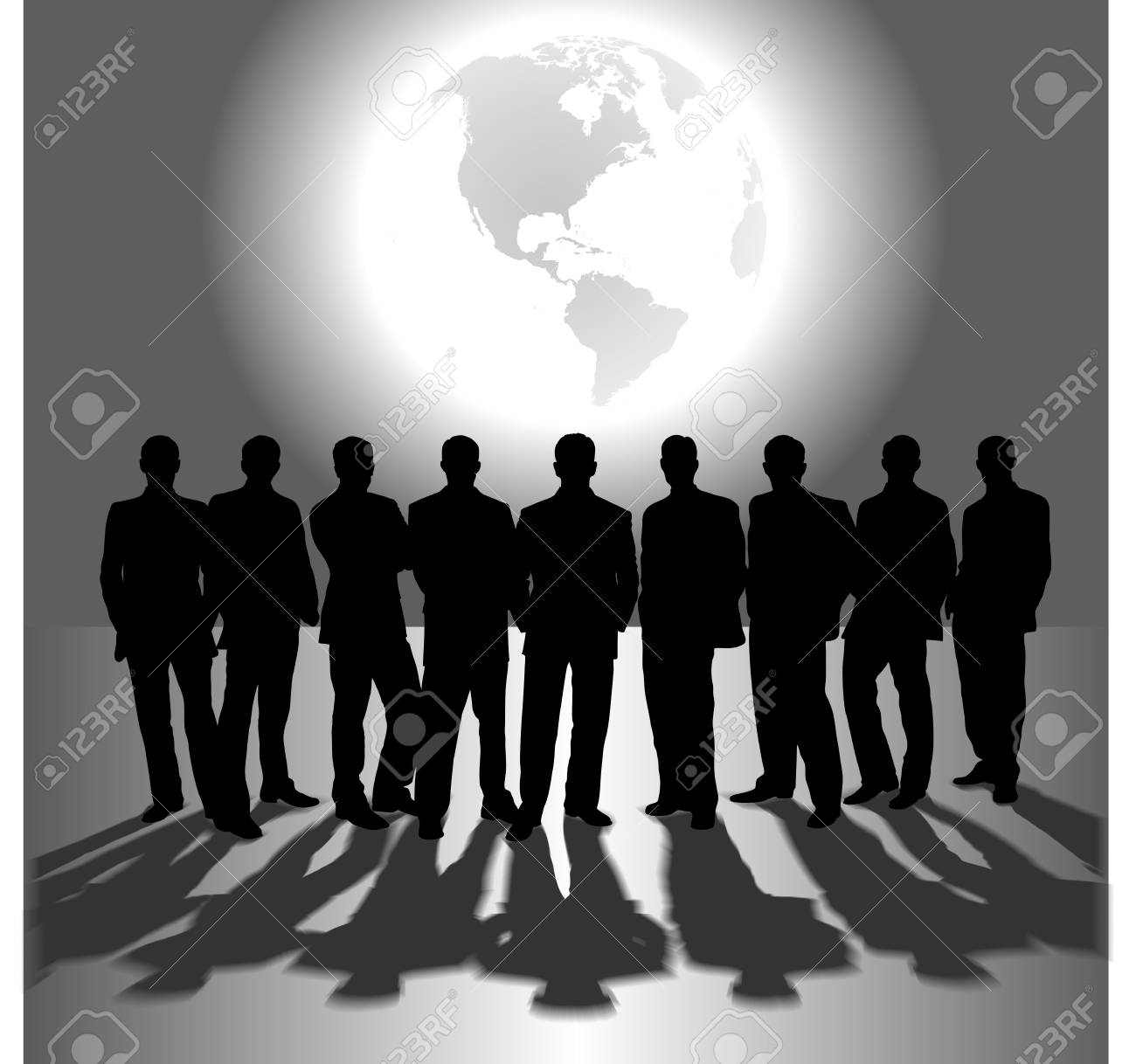 silhouettes of business people on the background of the planet Stock Vector - 18755527