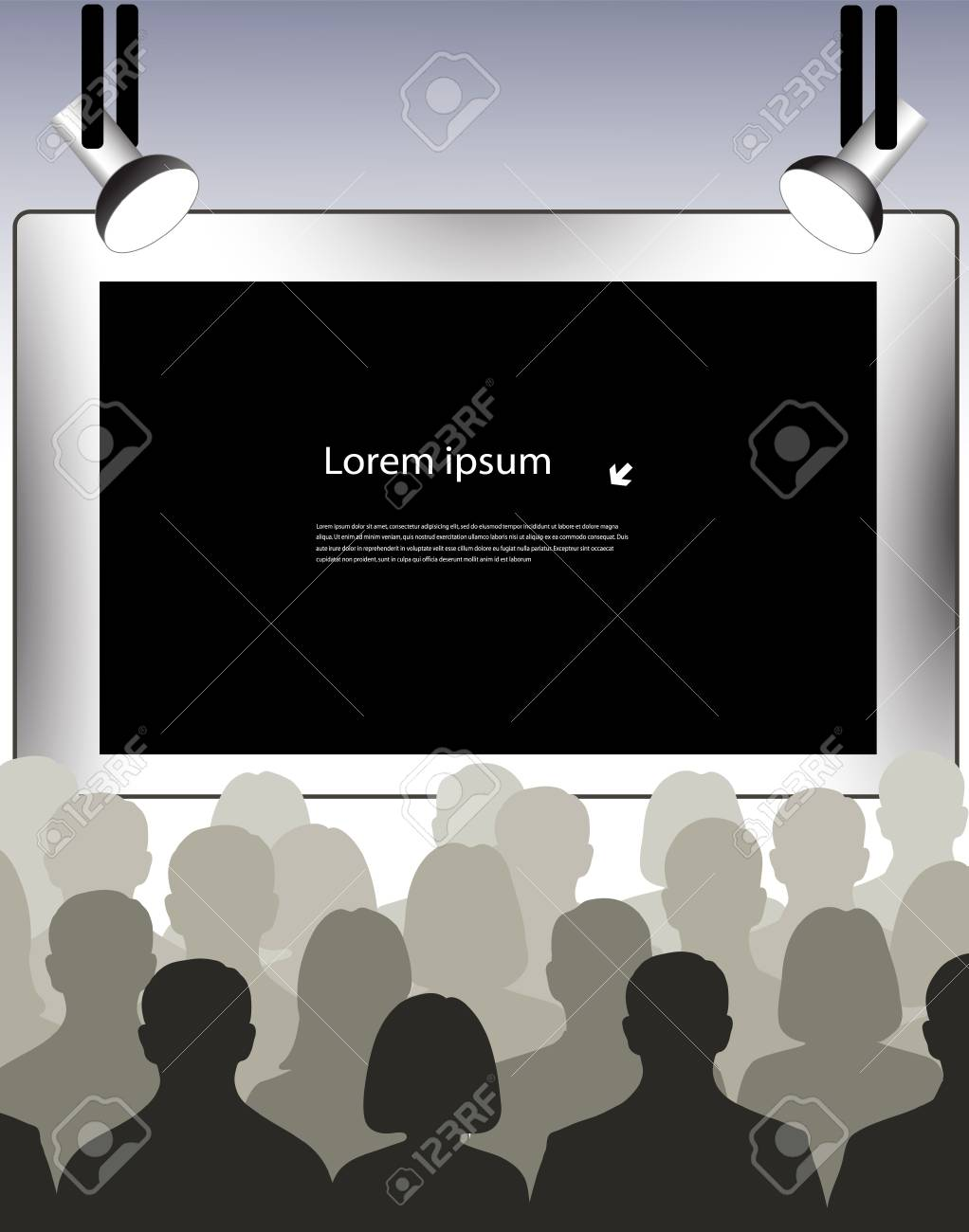 people in front of screen with space for your information Stock Vector - 19507108