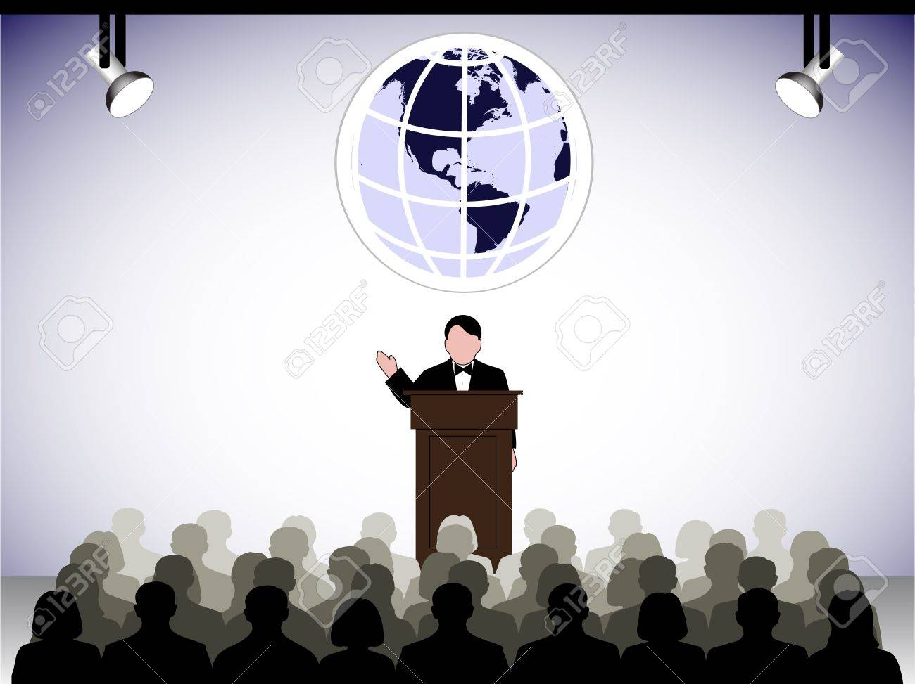 speaking to the audience in studio Stock Vector - 20070735
