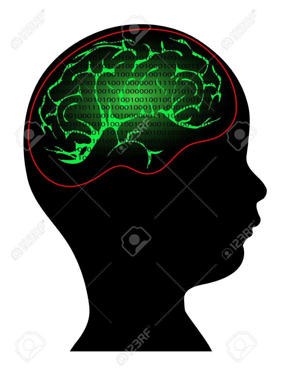 digital information in the mind of a child Stock Vector - 20775097