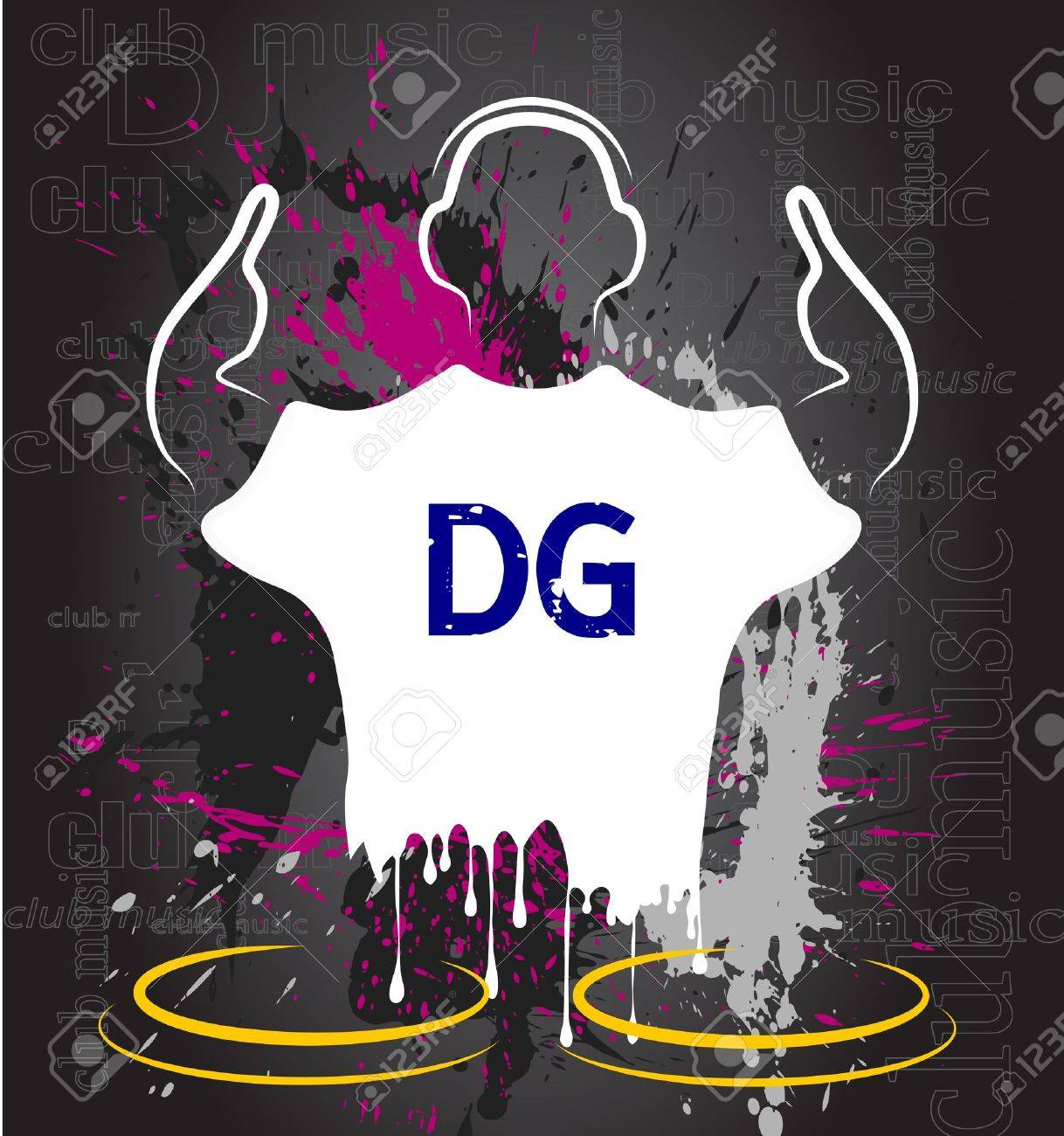 silhouette of the DJ against grunge Stock Vector - 20935630