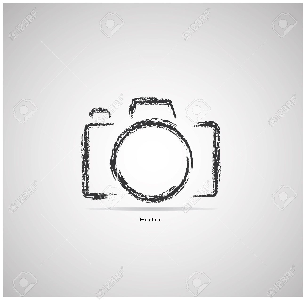 Camera On A Gray Background Is Drawn With A Brush Royalty Free