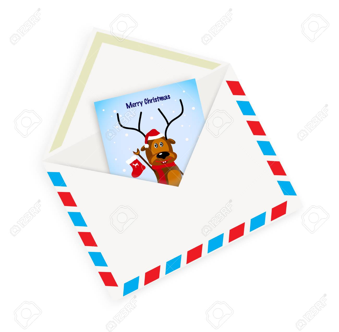Christmas Card With Envelope On A White Background Royalty Free