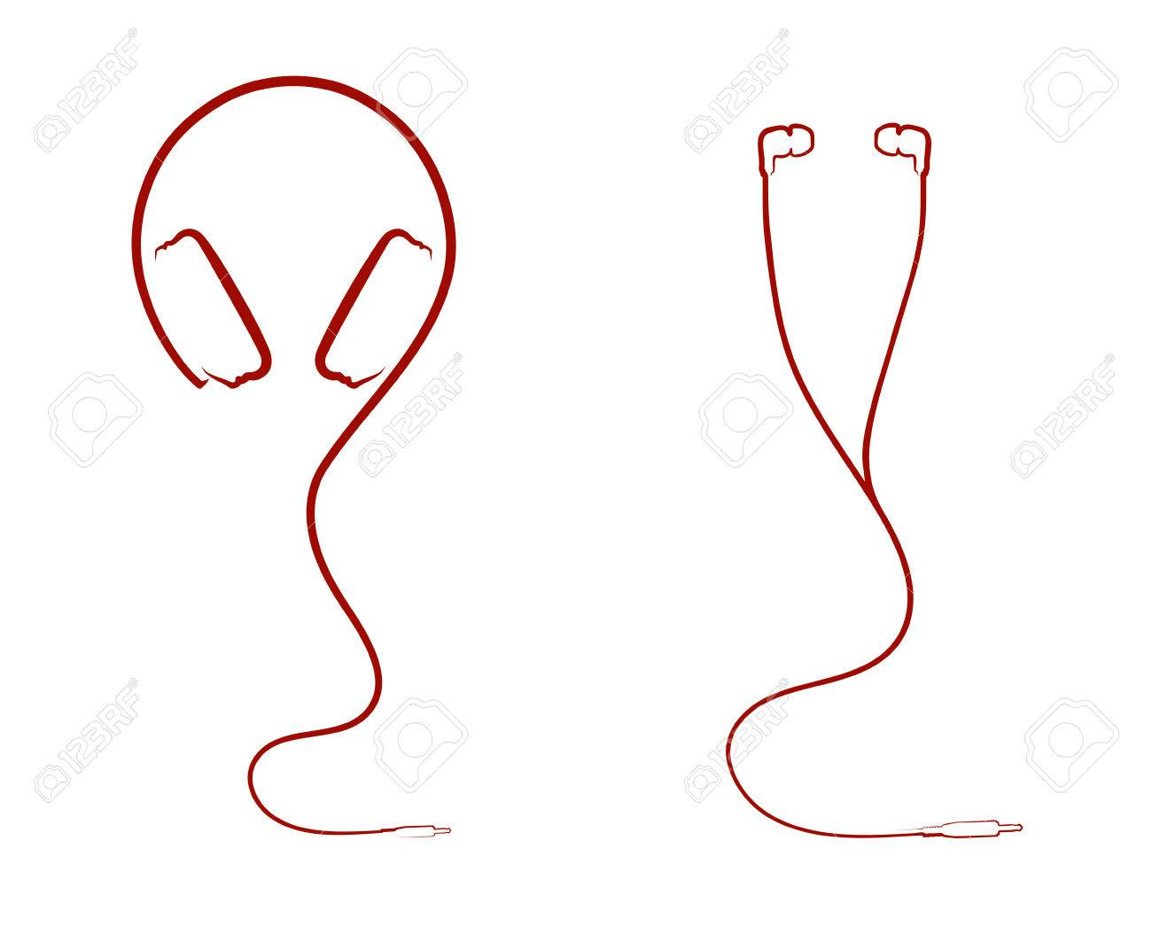 abstract silhouette headphones royalty free cliparts, vectors, and