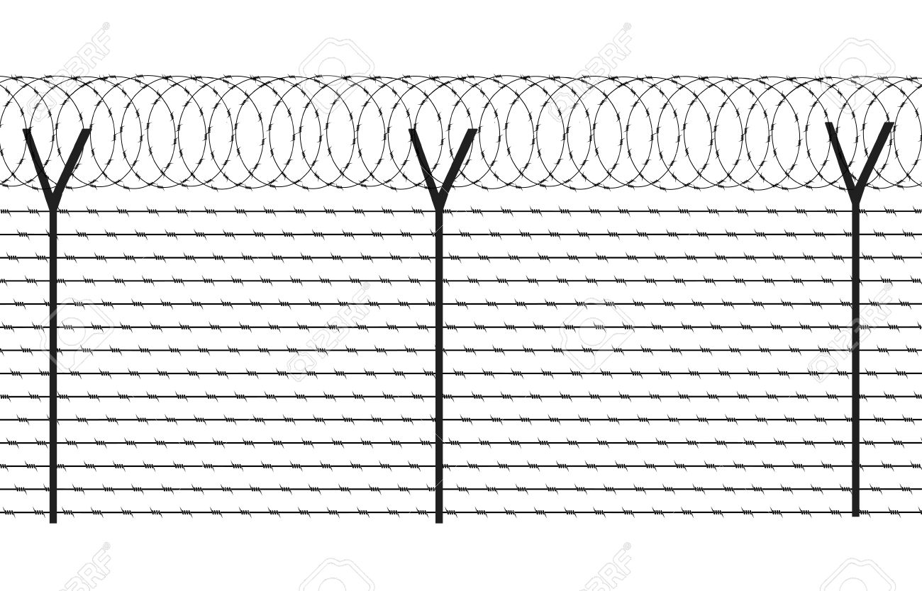 Fencing Element From A Barbed Wire Royalty Free Cliparts, Vectors ...