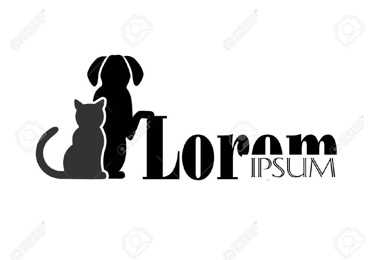 gato y perro símbolo de la medicina veterinaria Foto de archivo - 31725123