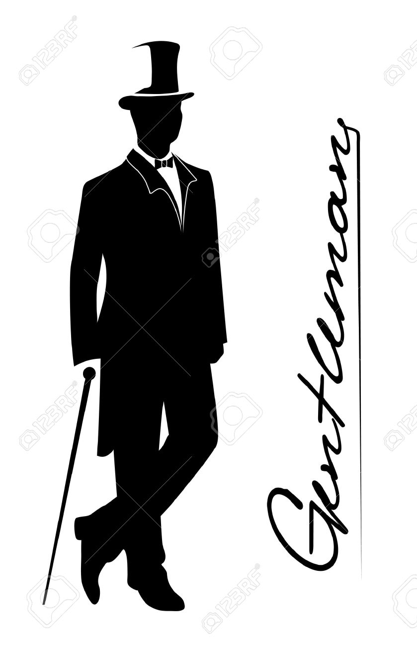 silhouette of a gentleman in a tuxedo royalty free cliparts vectors rh 123rf com old fashioned gentleman clipart