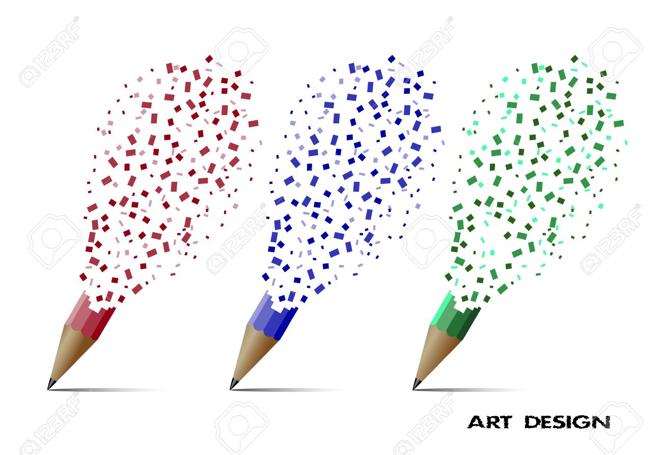 Abstract Drawing Destruction Of A Pencil Art Design