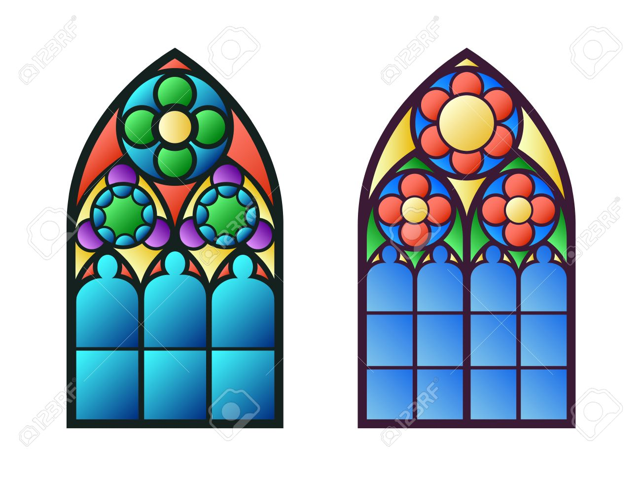 Church Stained Glass Windows Stock Vector