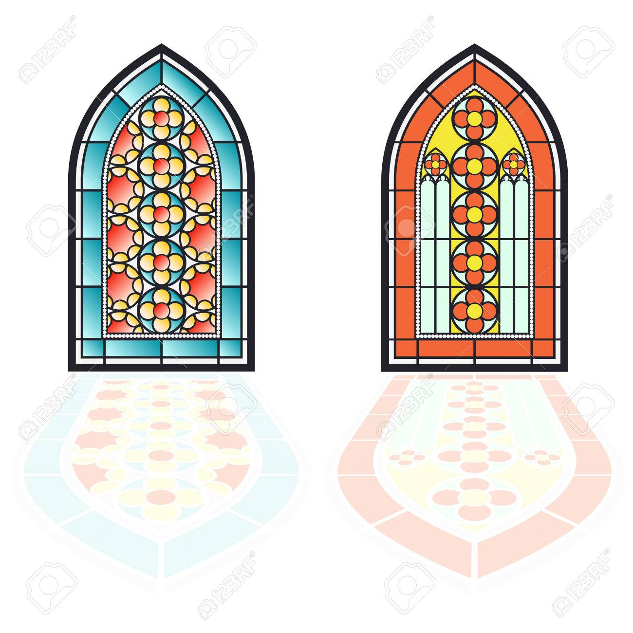 Gothic Windows Vintage Frames Church Stained Glass Stock Vector
