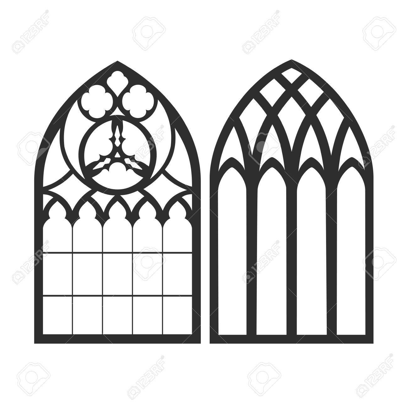 Gothic Windows. Vintage Frames. Church Stained-glass Windows Royalty ...