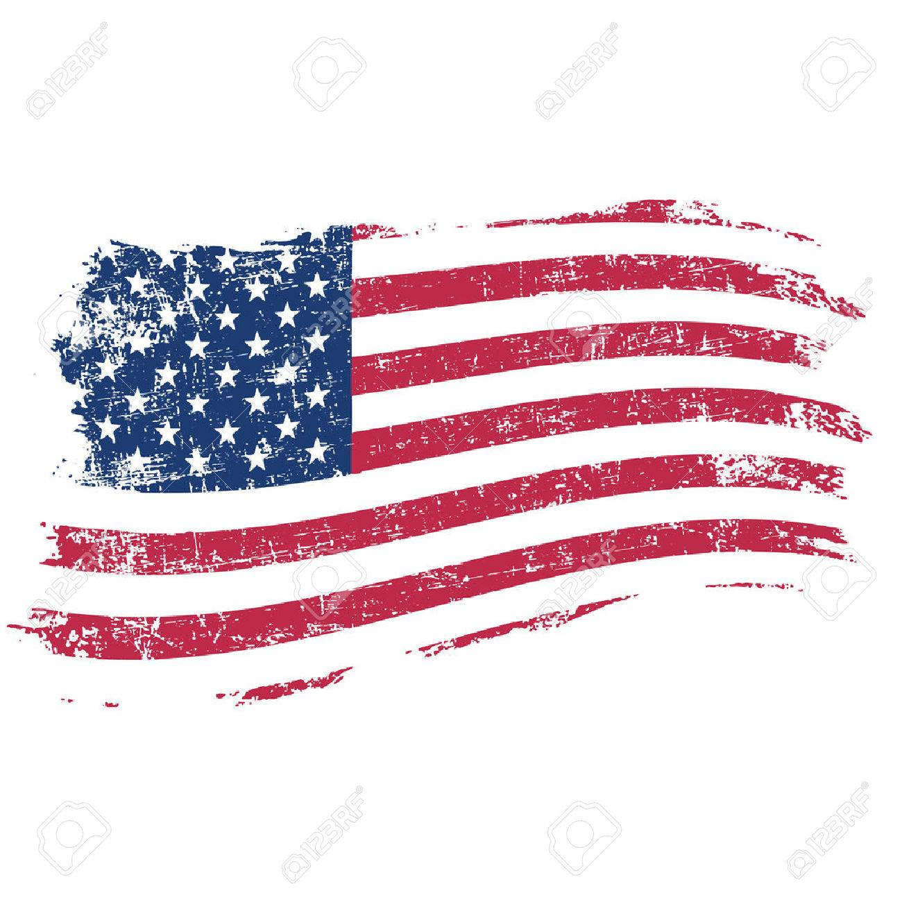 USA flag in grunge style on a white background - 52724355