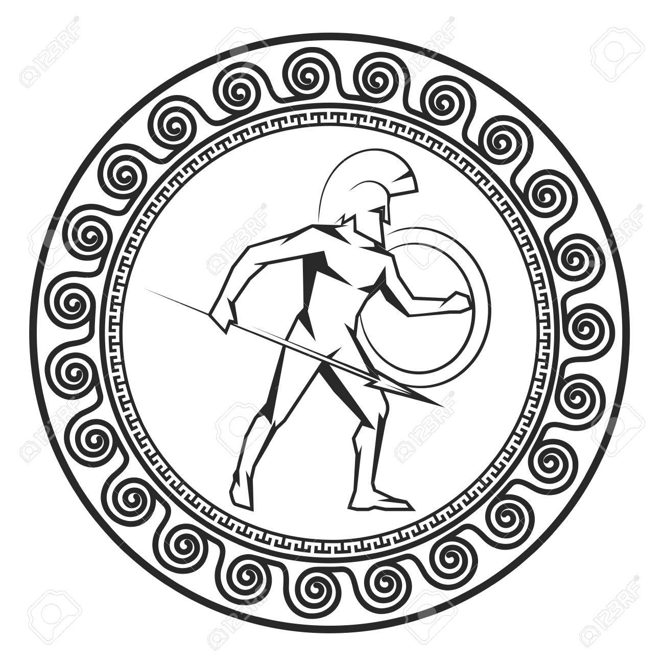 Symbol With The Greek Soldier Silhouette Of The Spartan Soldier