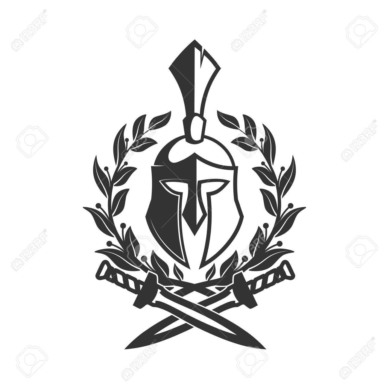 Military Symbol Spartan Helmet In Laurel Wreath Royalty Free