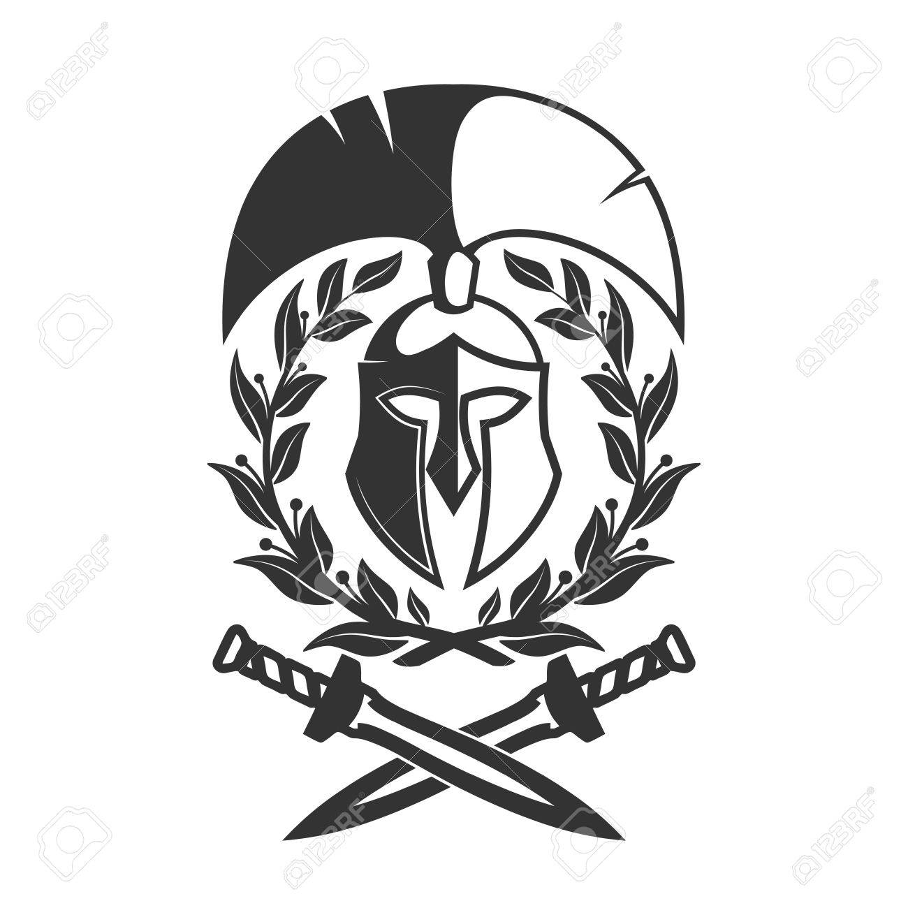 Military Symbol Spartan Helmet In Laurel Wreath
