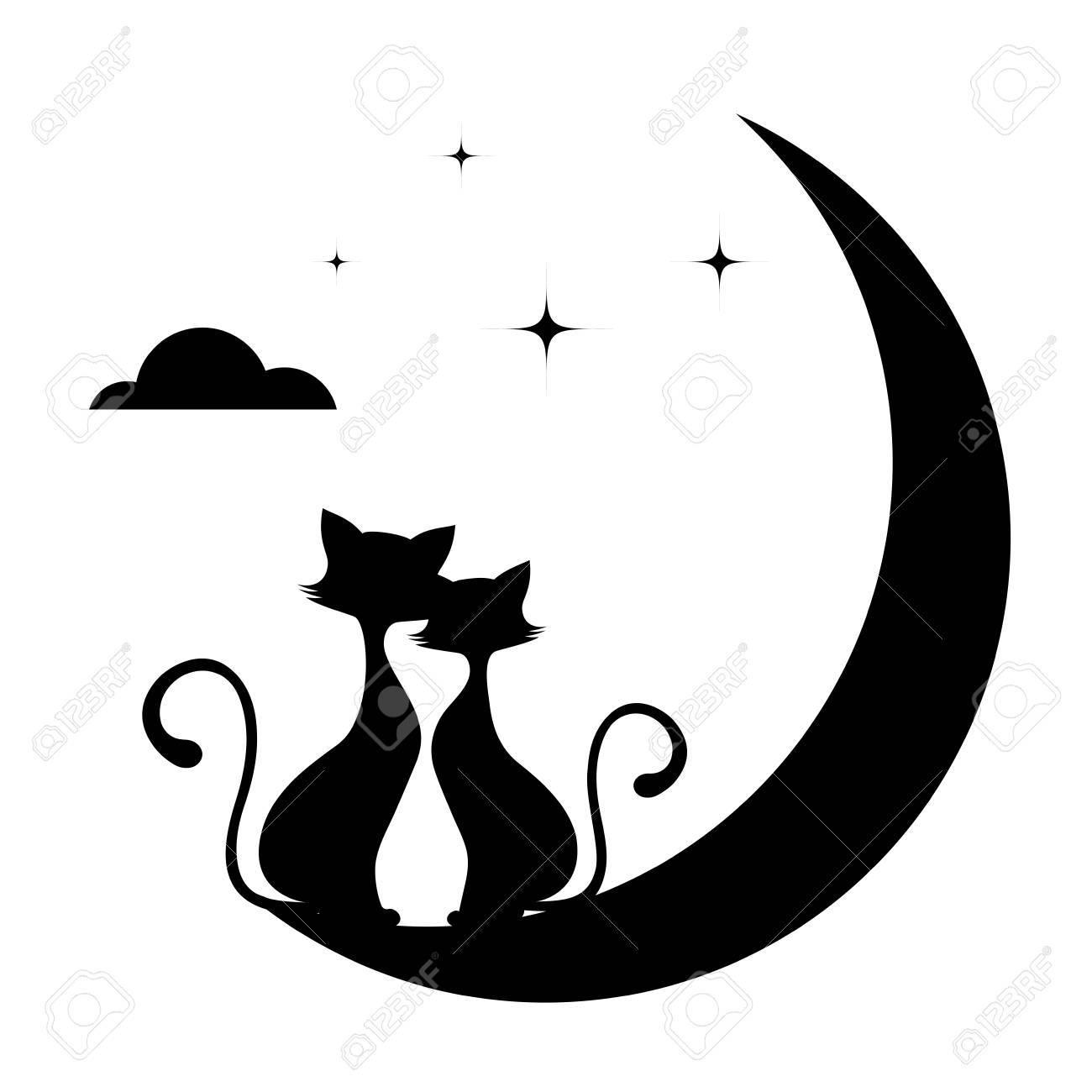 猫白黒イラストのロマンチックな出会い のイラスト素材 ベクタ Image