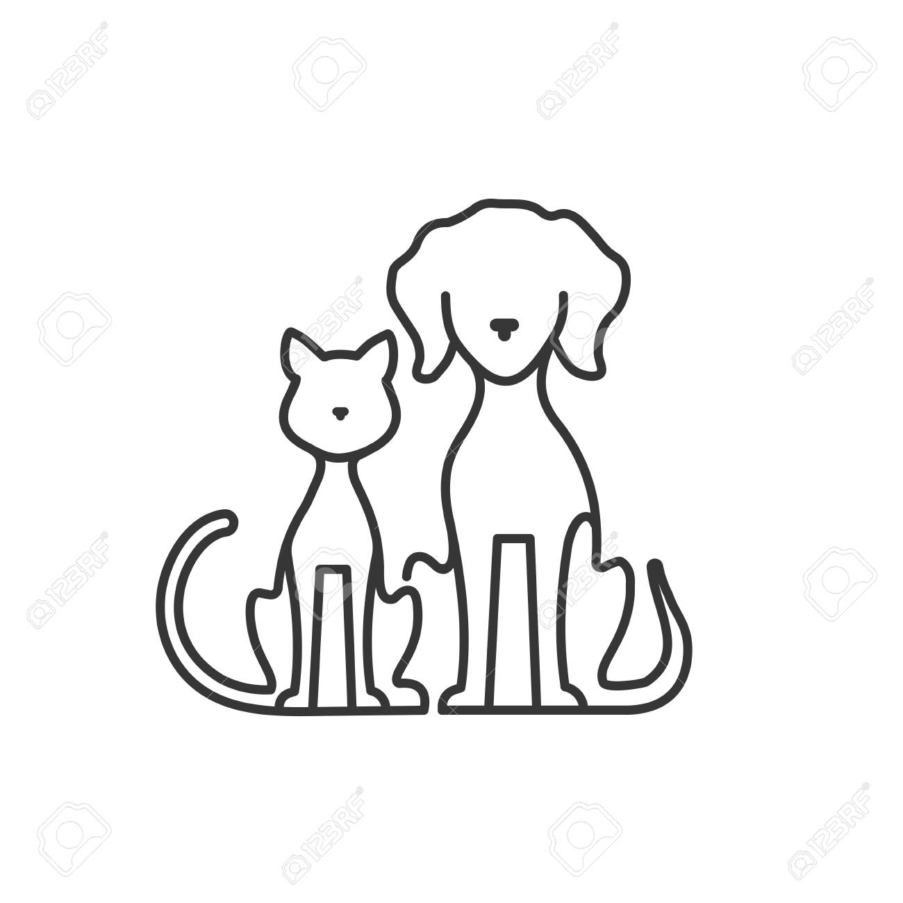 Dog And Cat Icon Silhouette Vector Illustration Royalty Free