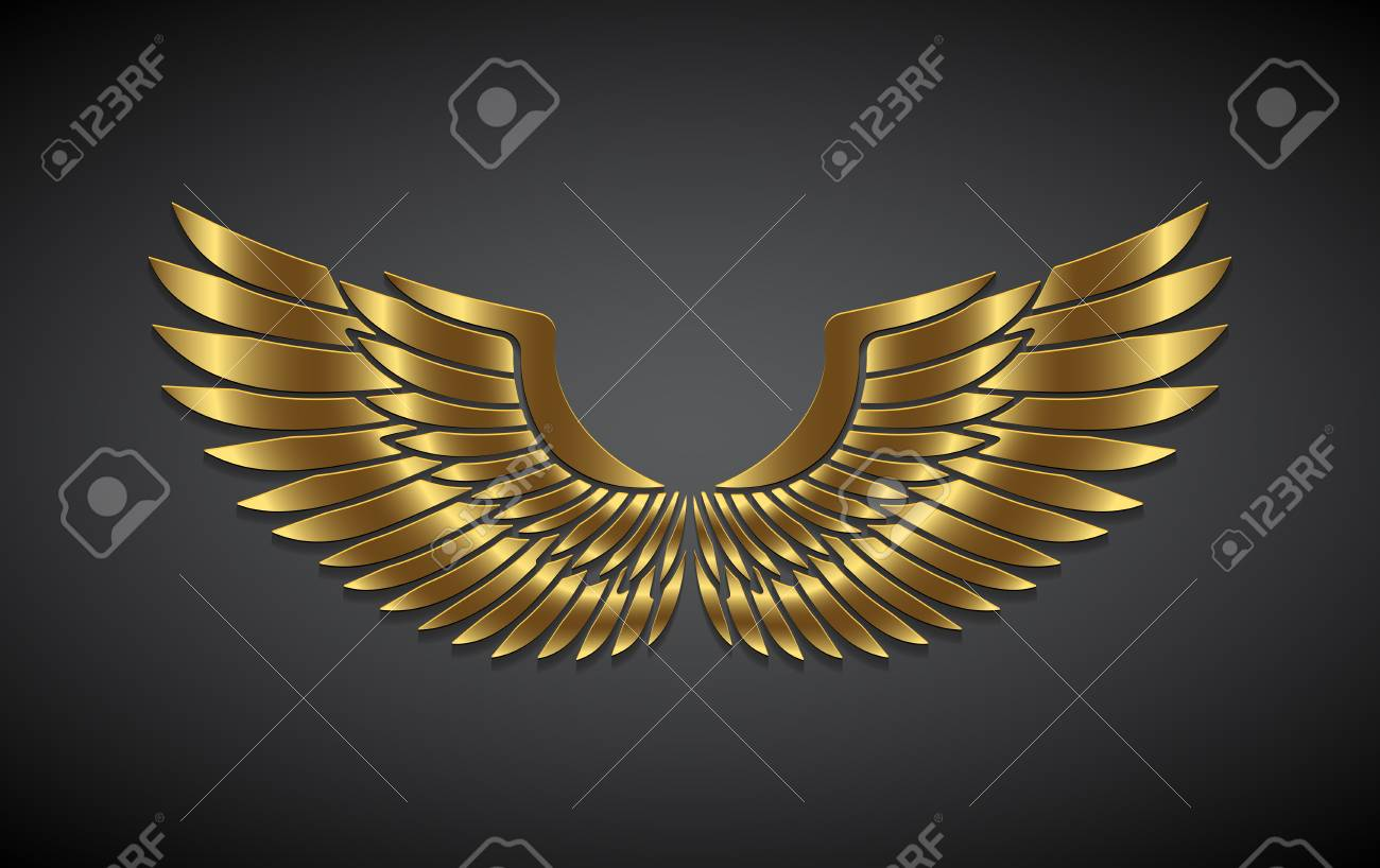 Wings from gold on a gray background. - 92981442