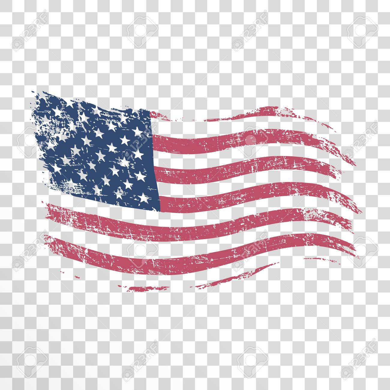American flag in grunge style on transparent background. - 104826522