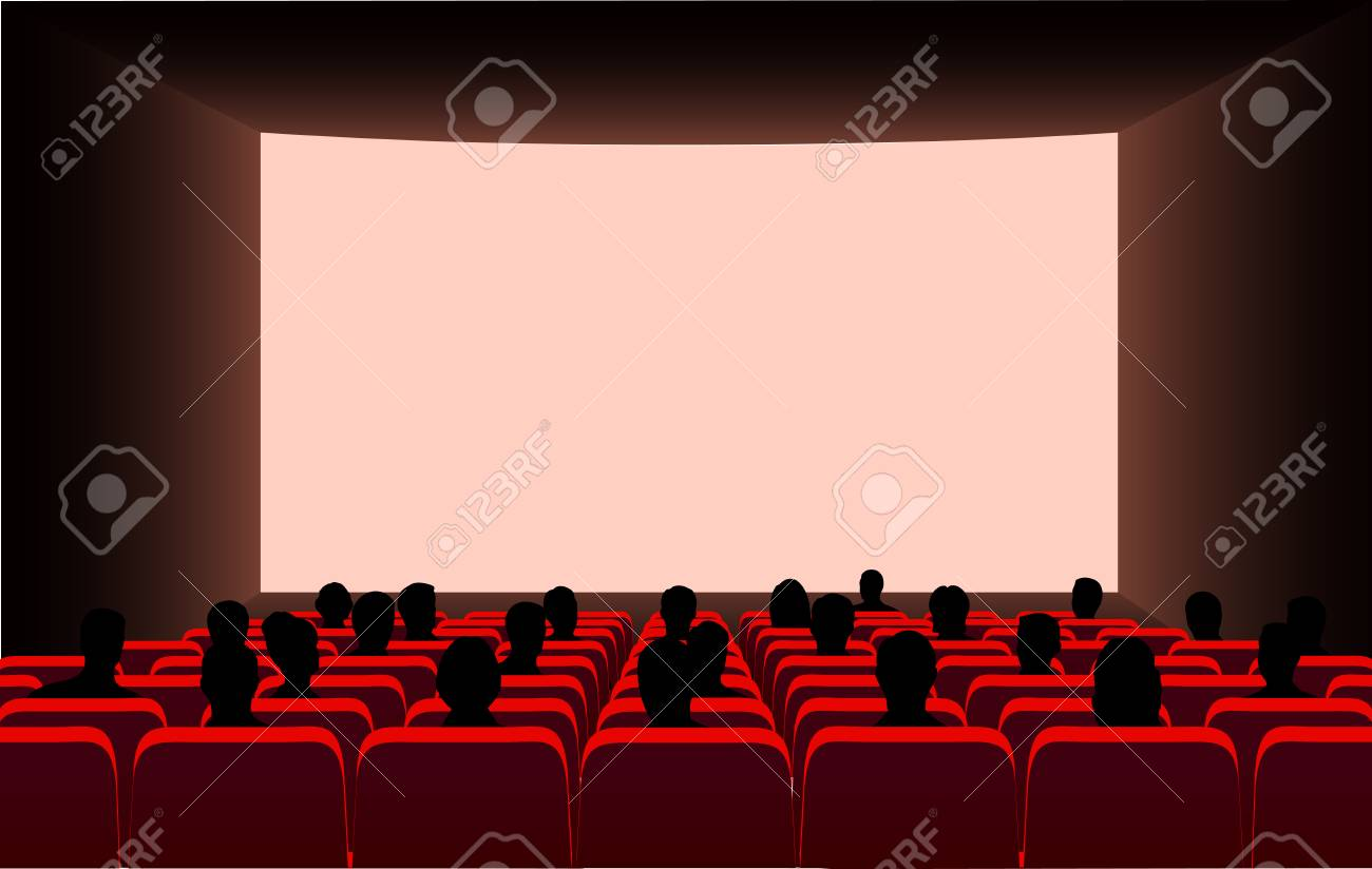 People In The Cinema On The Background Of The Screen Royalty Free Cliparts Vectors And Stock Illustration Image 106725041
