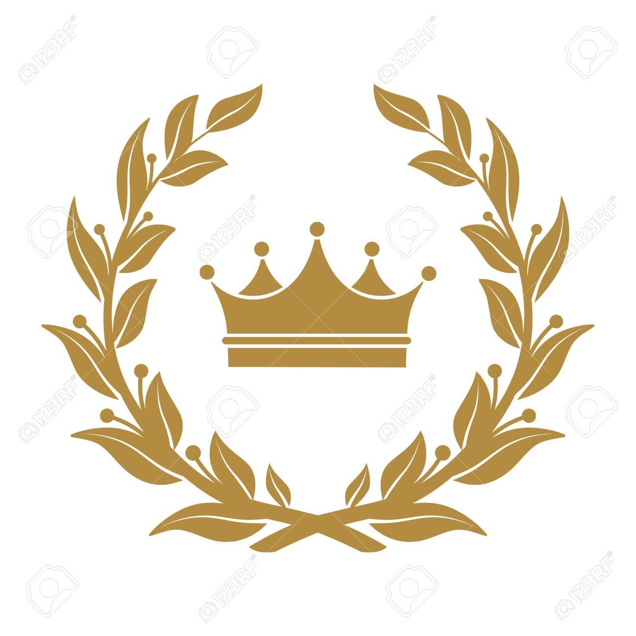 Heraldic symbol crown in laurel leaves. - 118684604