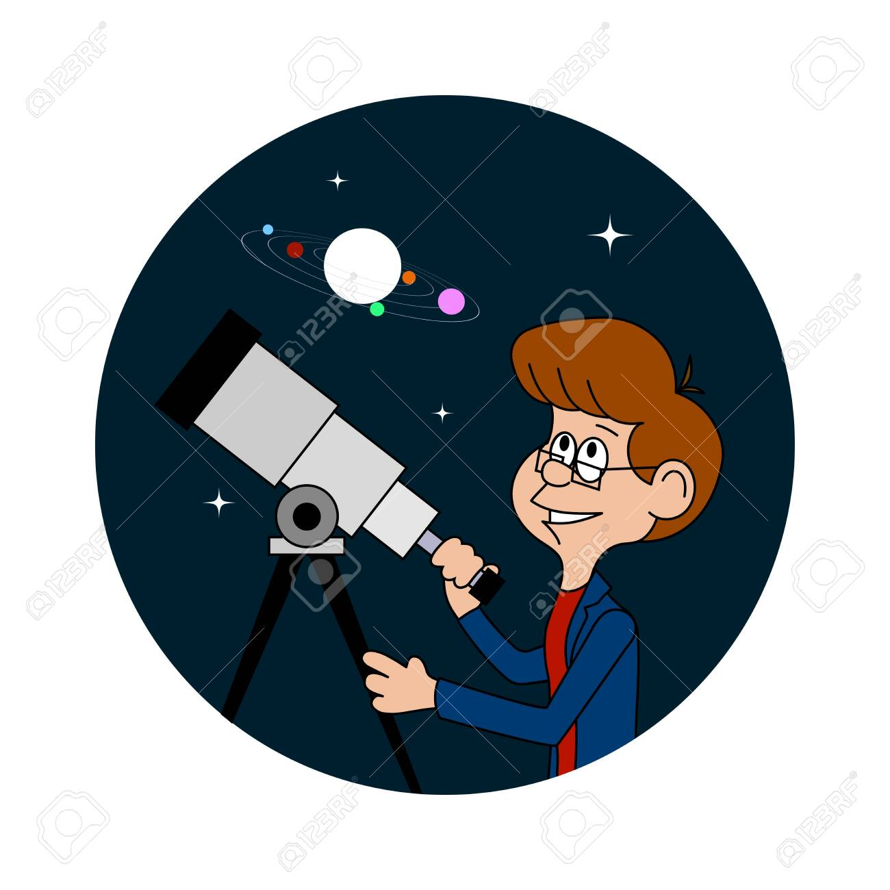funny astronomer looks at the stars vector illustration - 126728719