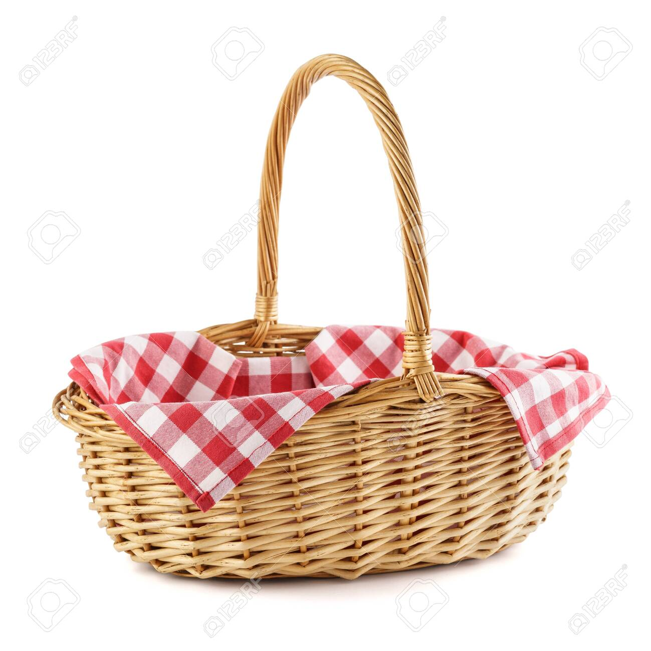 Empty wicker basket with red checkered tablecloth for picnic. Isolated on white. - 125566452