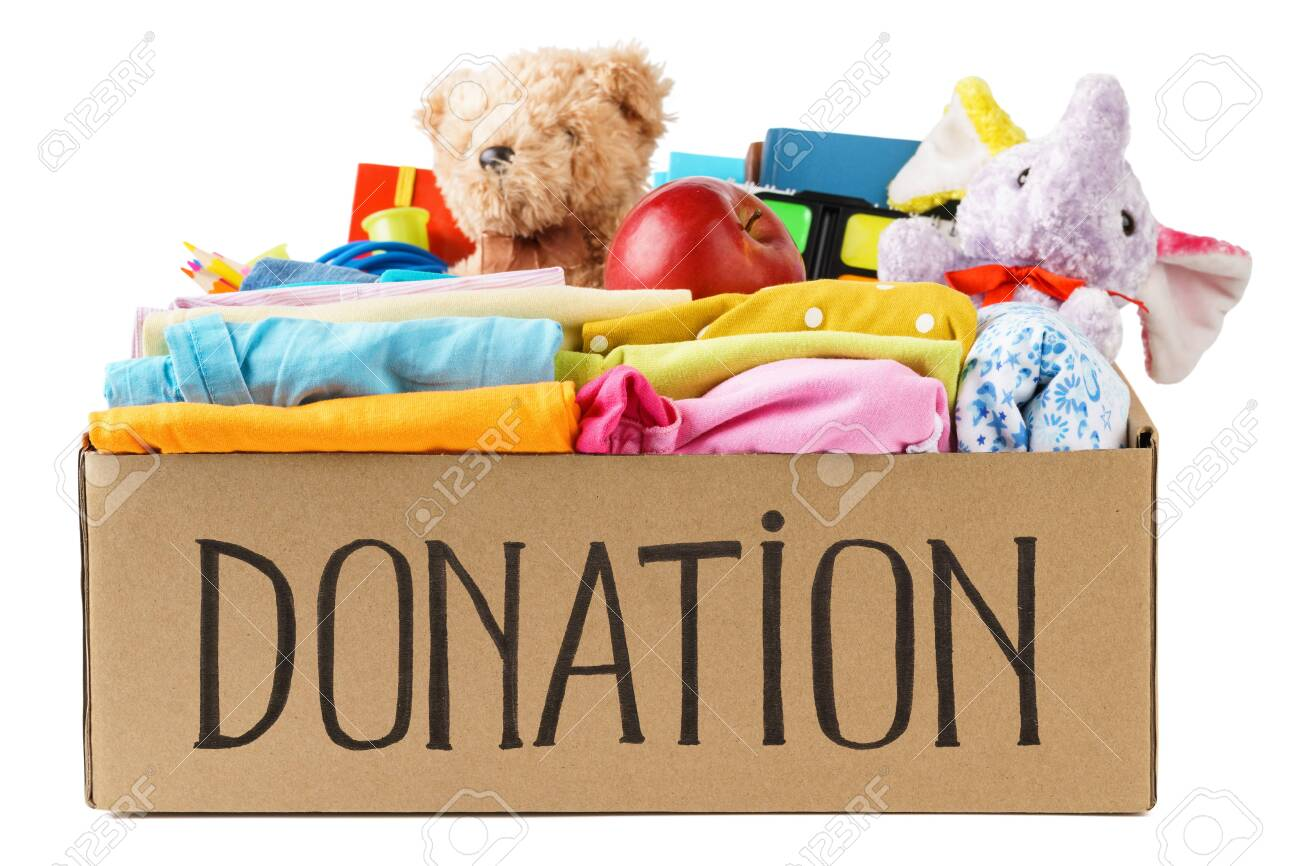 Different Donations In A Box Clothes Stationery And Toys Stock Photo Picture And Royalty Free Image Image 126799684
