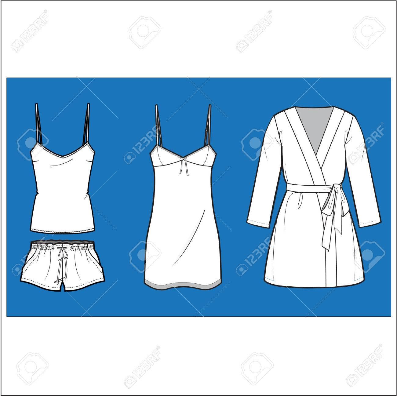 Women�s  fashion Sleepwear vector  set Stock Vector - 3728759