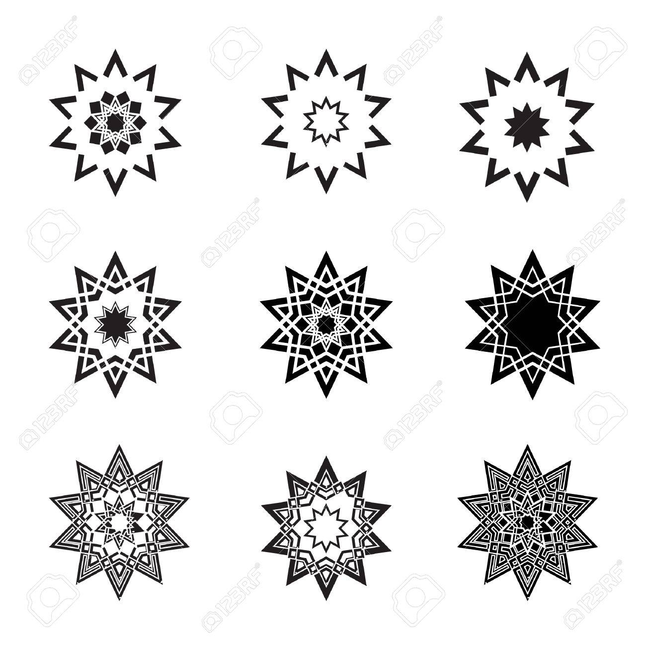 Abstract black star icons  and logos Stock Vector - 3740093