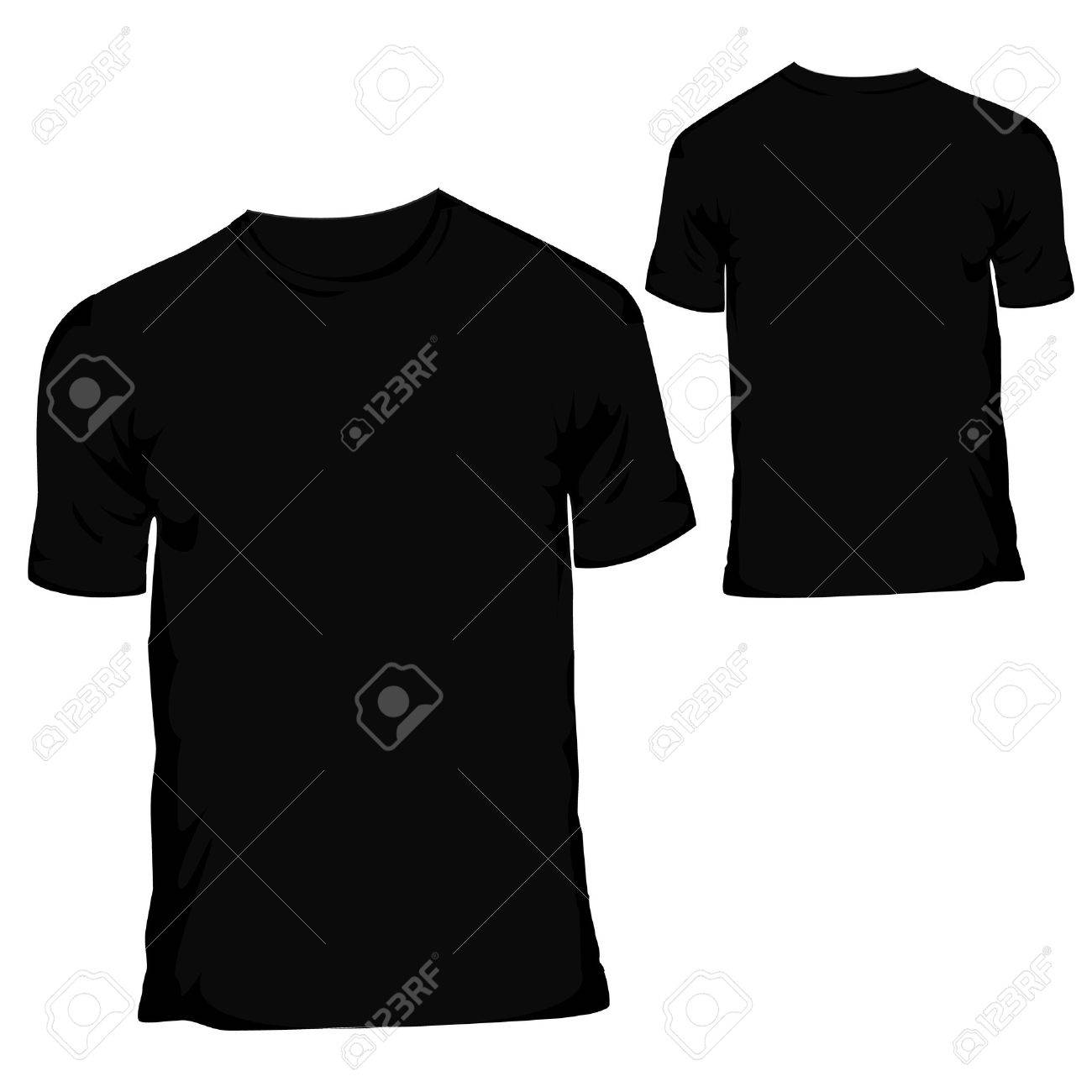 Black Blank T Shirt Design Template For Menswear Stock Vector