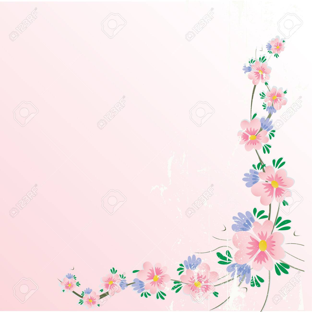 floral cherry blossom corner background with grunge effect Stock Vector - 4792224