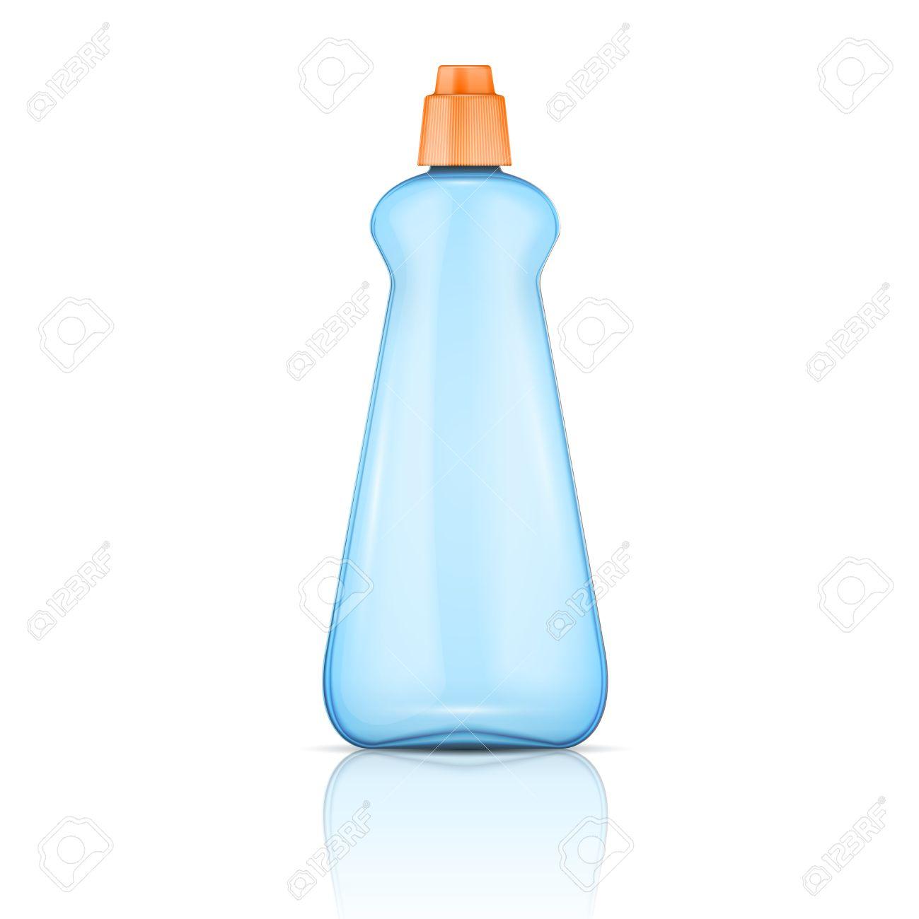 bouteille en plastique bleu avec capuchon orange pour lave-vaisselle