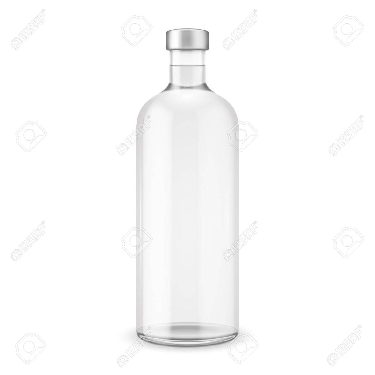 シルバー キャップと瓶ウォッカベクトル イラストガラス瓶の