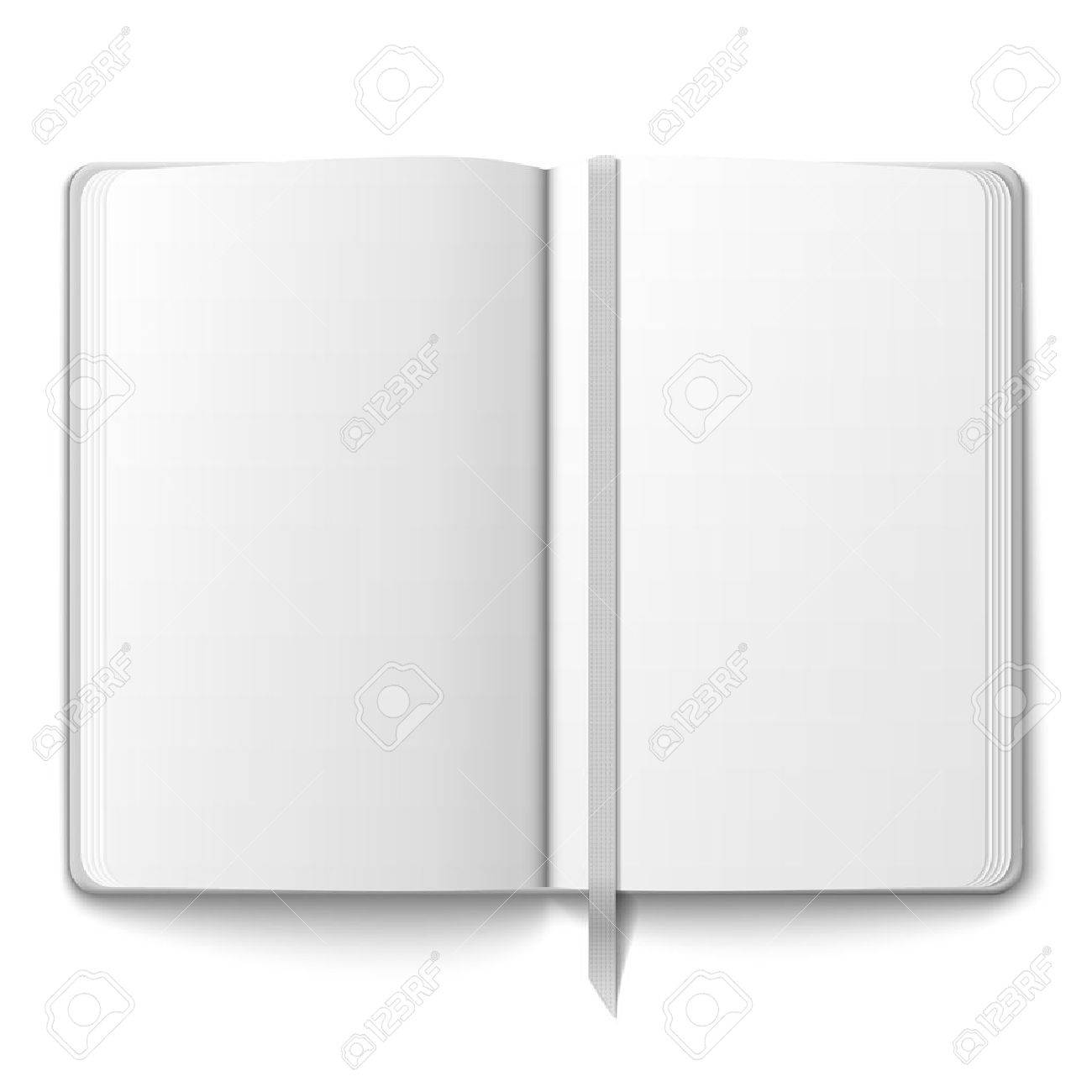 Blank Opened Copybook Template With Bookmark Vector Illustration – Blank Bookmark Template