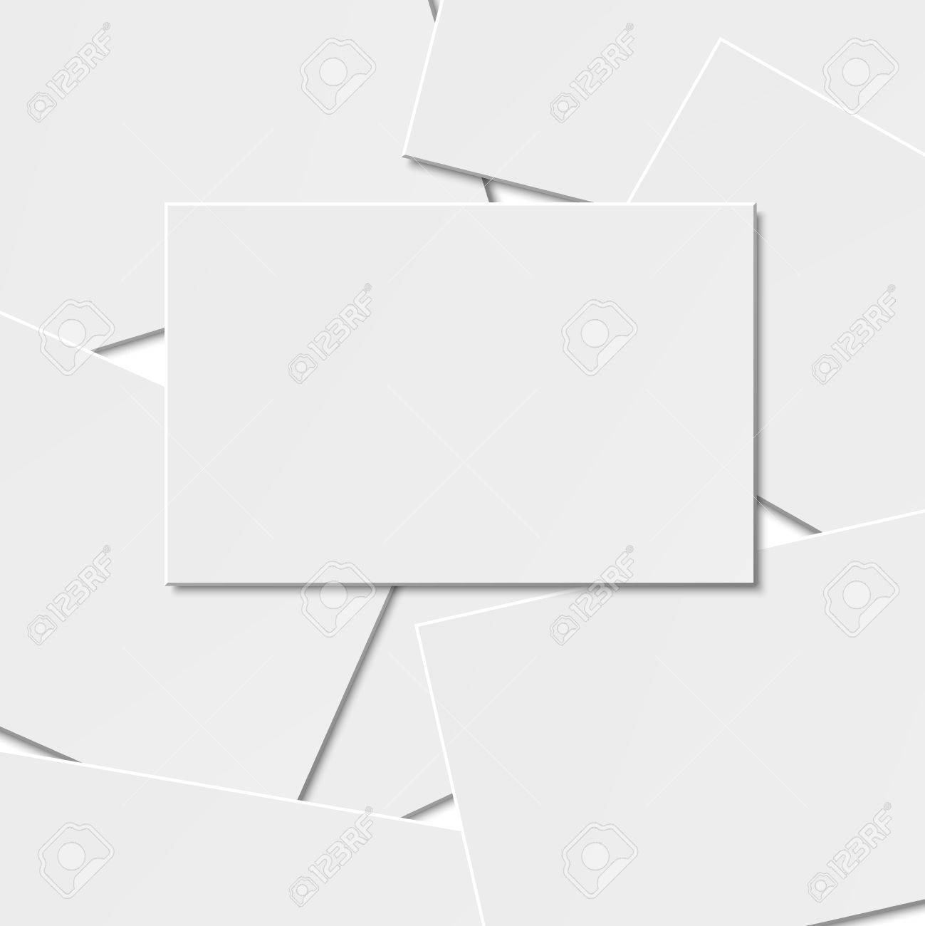 Pile Of Blank Business Card On White Background With Soft Shadows ...