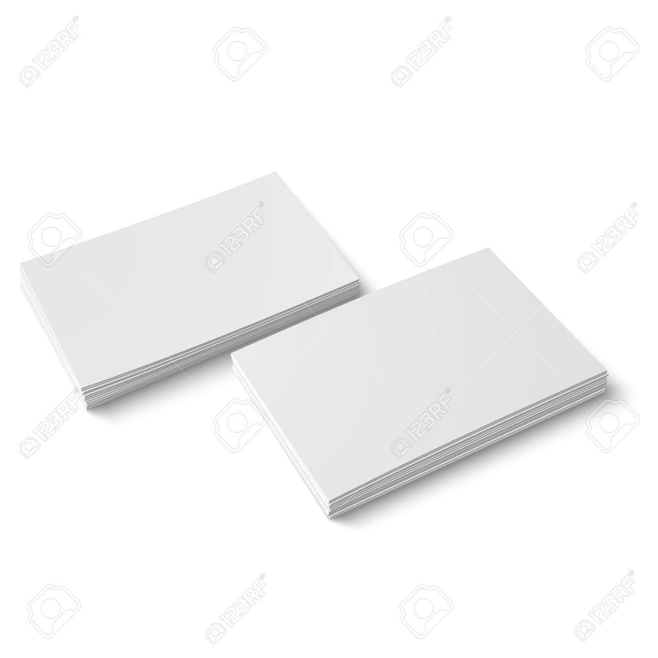 Two Stack Of Blank Business Cards On White Background With Soft ...