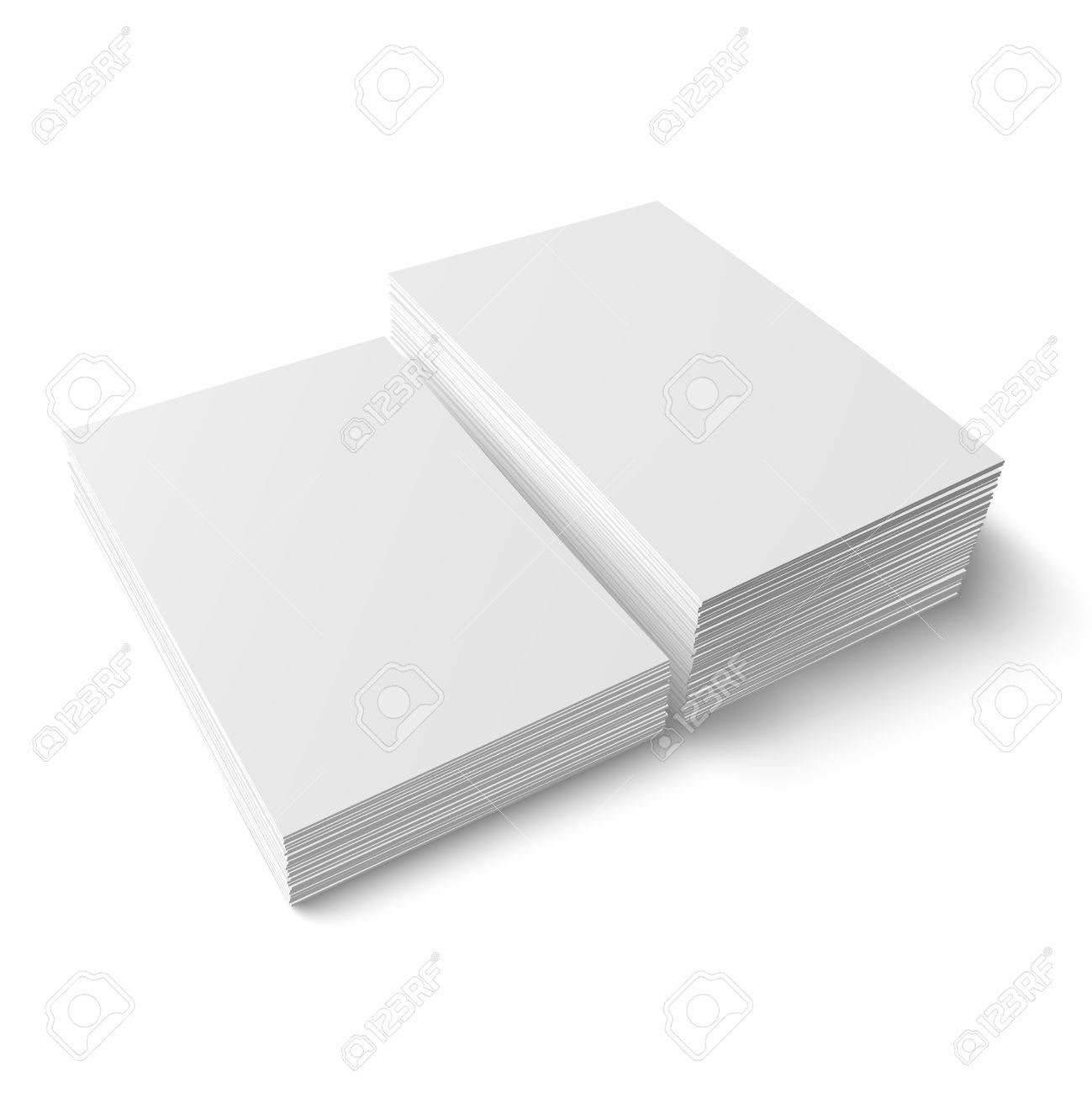 Two stacks of blank business cards of different heights on white two stacks of blank business cards of different heights on white background with soft shadows reheart Choice Image