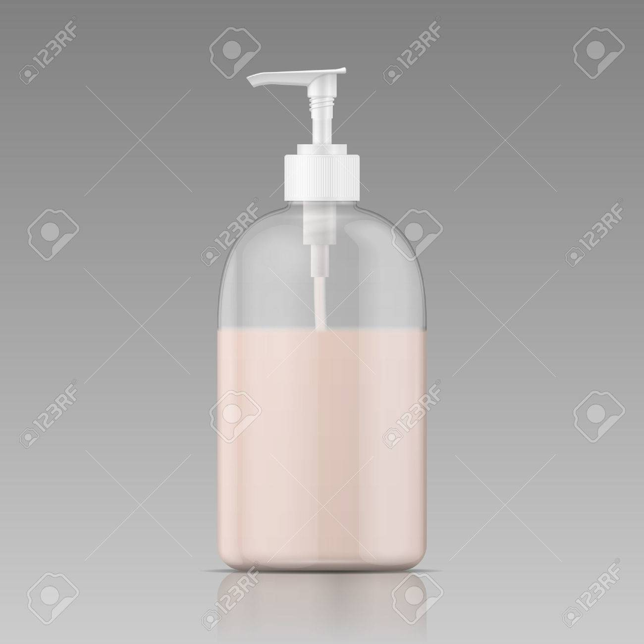 plastic bottle with dispenser cap with liquid soap shampoo shower gel lotion