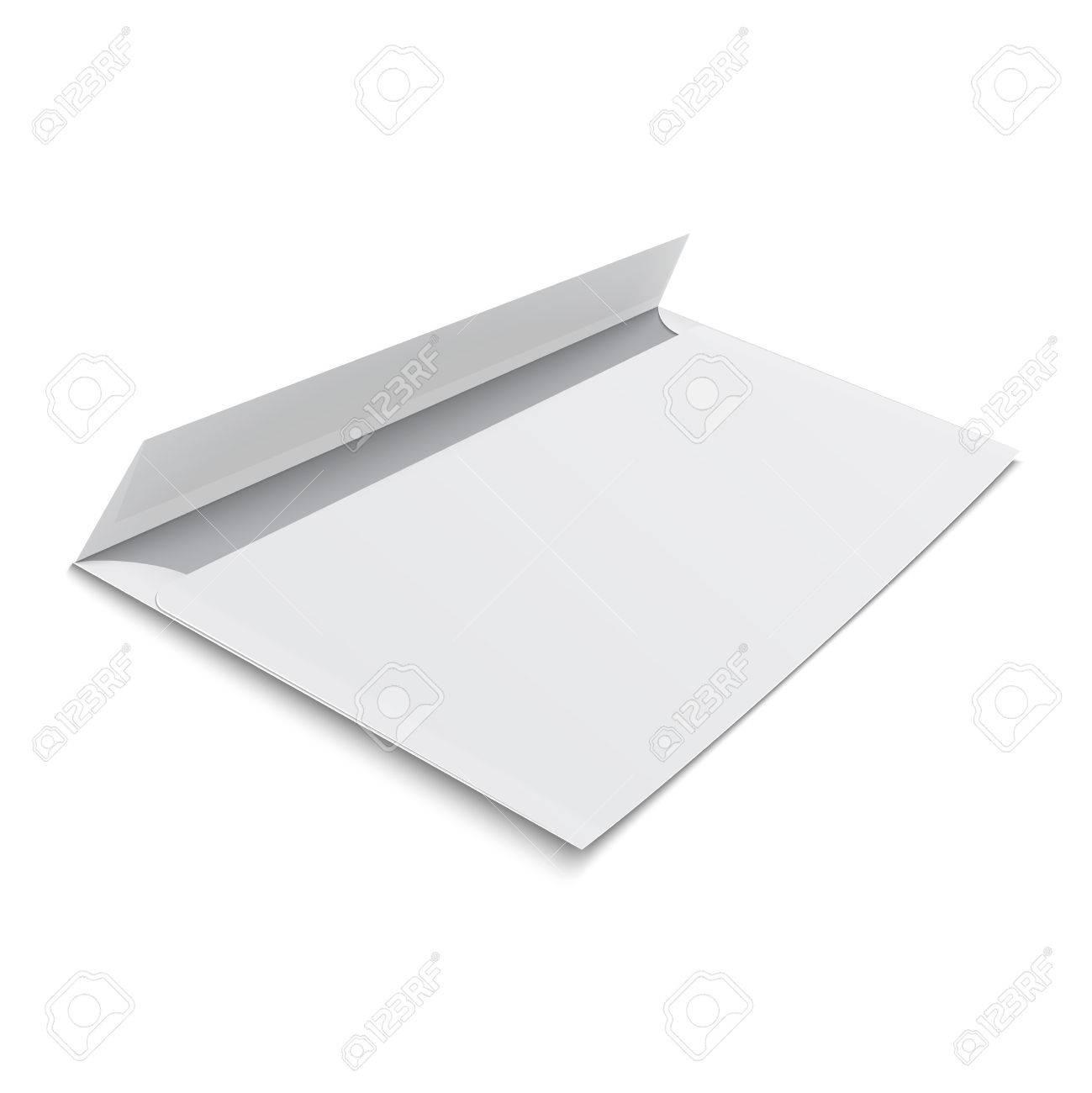 white stationery blank opened envelope e65 size on white