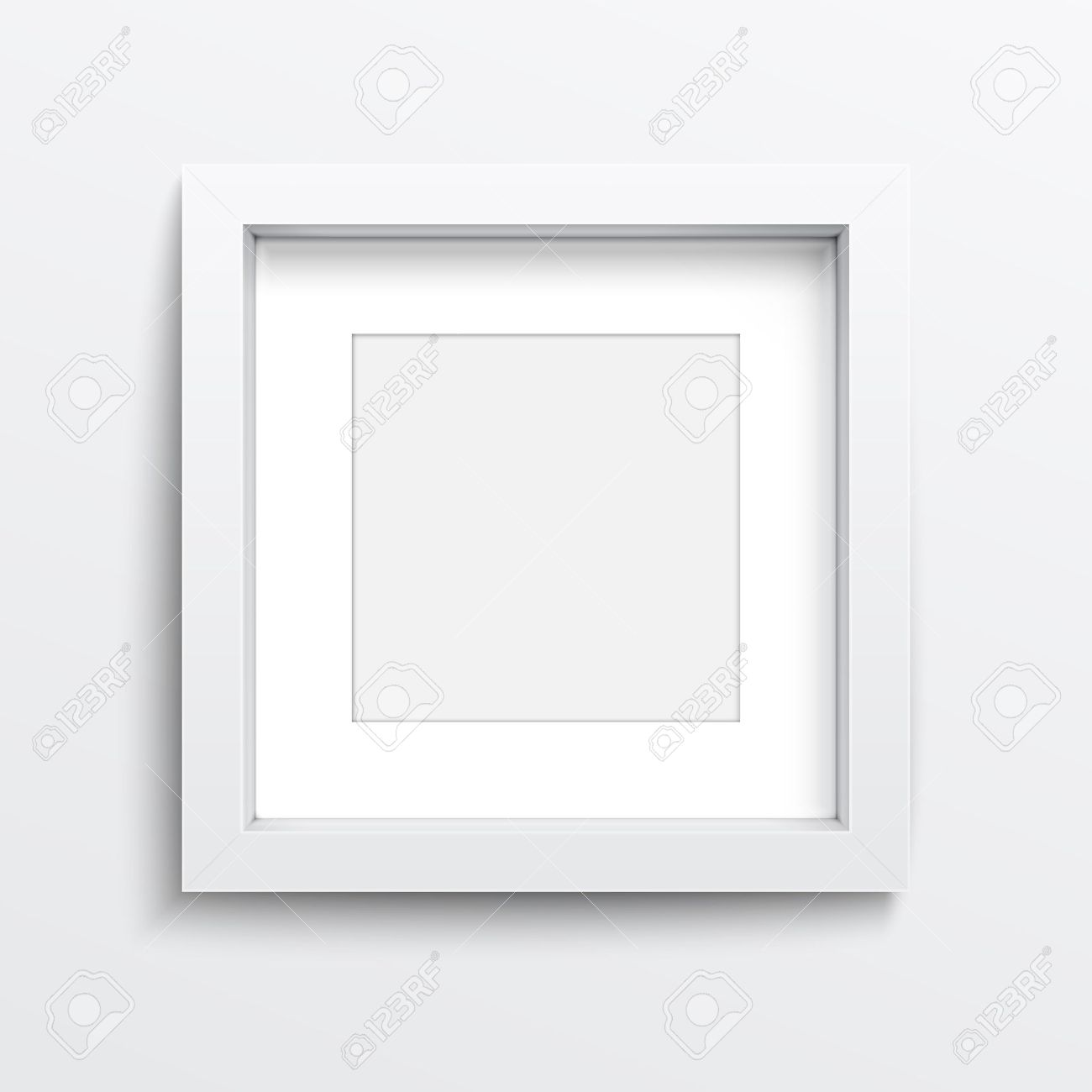 White Square Frame On Gray Wall With Realistic Shadows. Vector ...