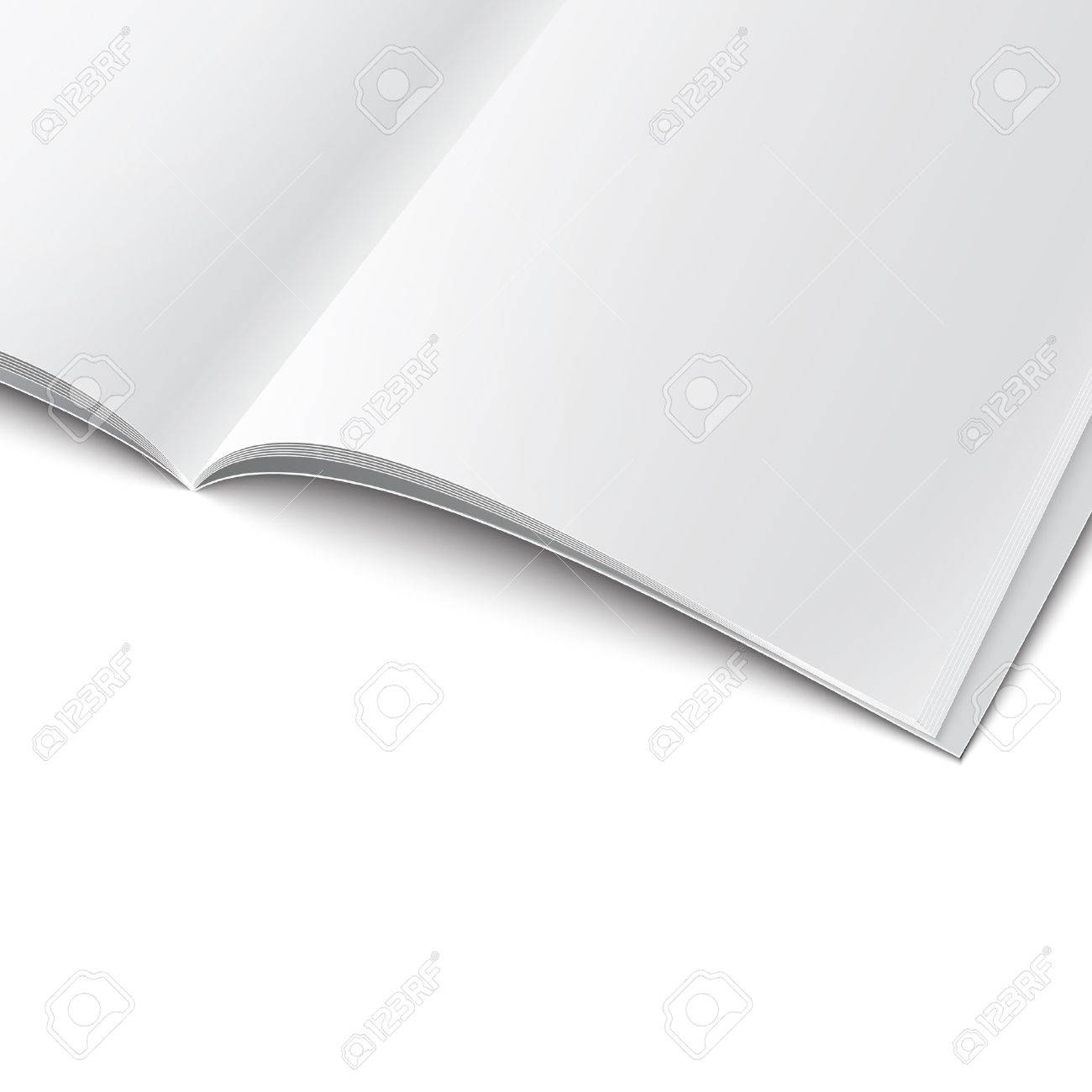 closee up of blank opened magazine cover template on white closee up of blank opened magazine cover template on white background soft shadows