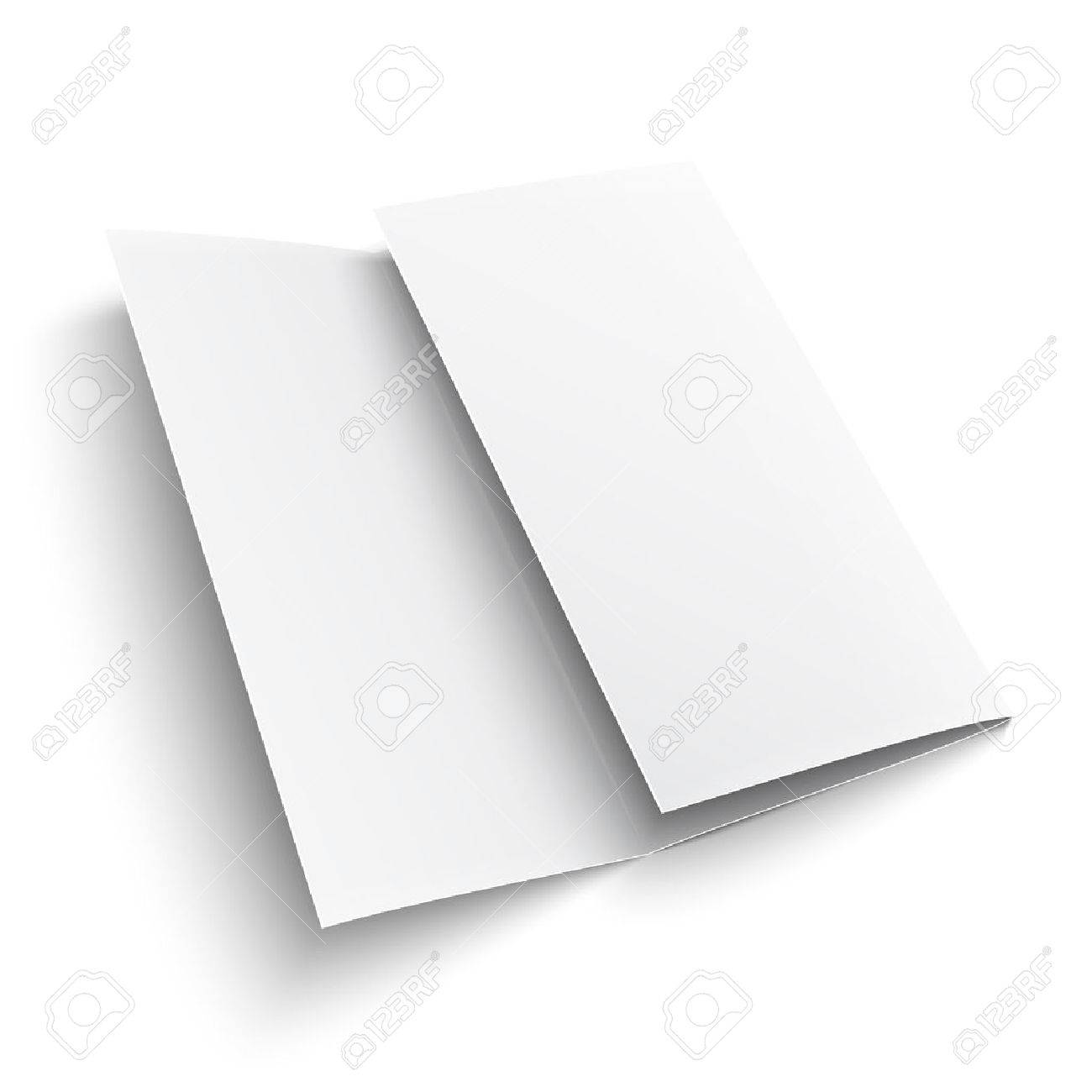 blank trifold paper brochure on white background with soft shadows