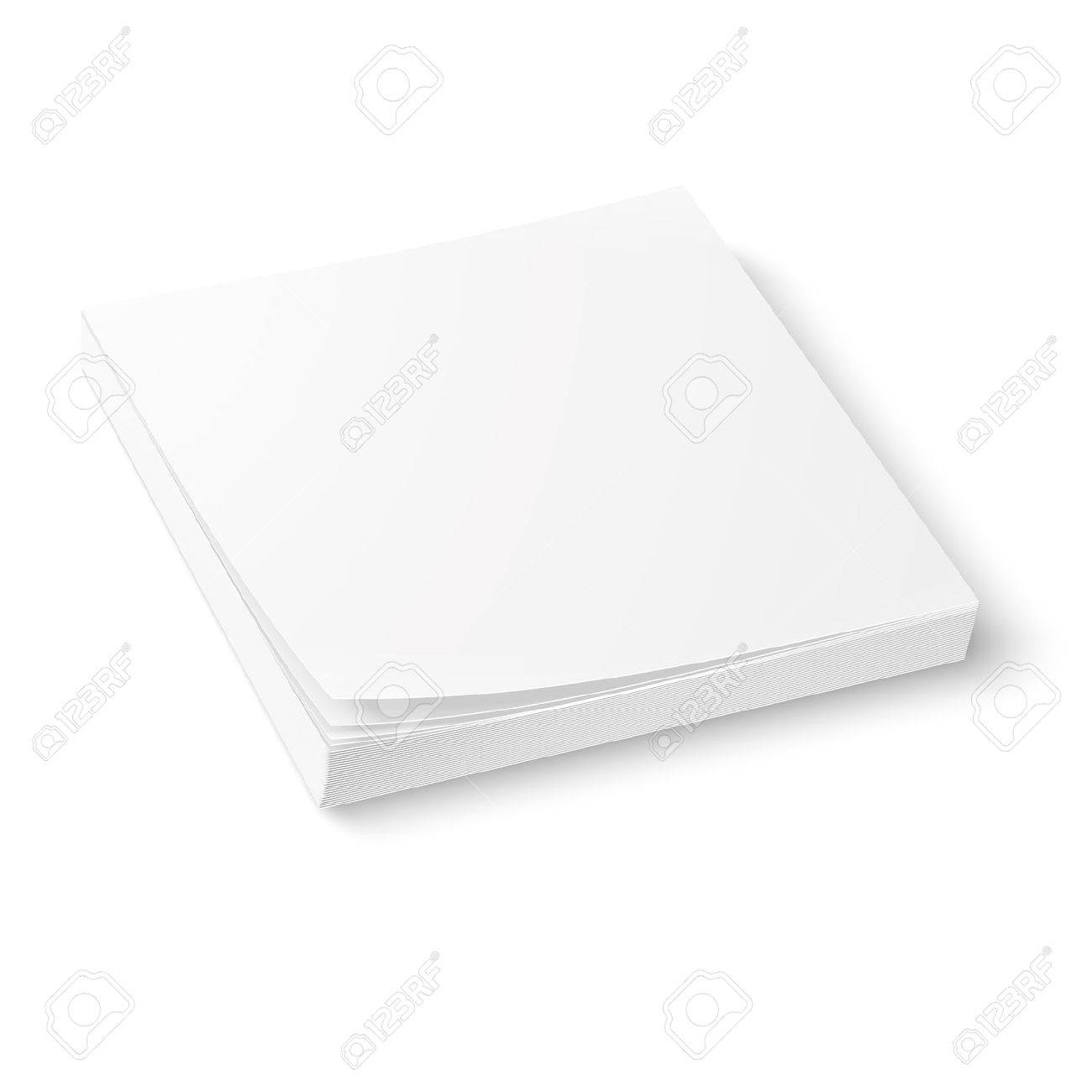 White Square Paper Or Sticker Block Template, Isolated On White ...