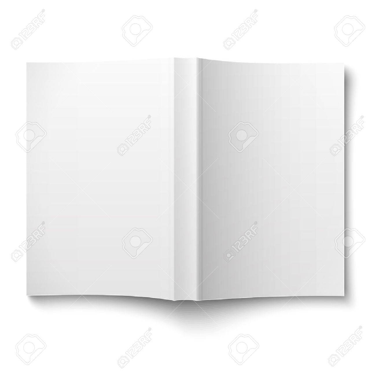 blank softcover book template spread out on white royalty free