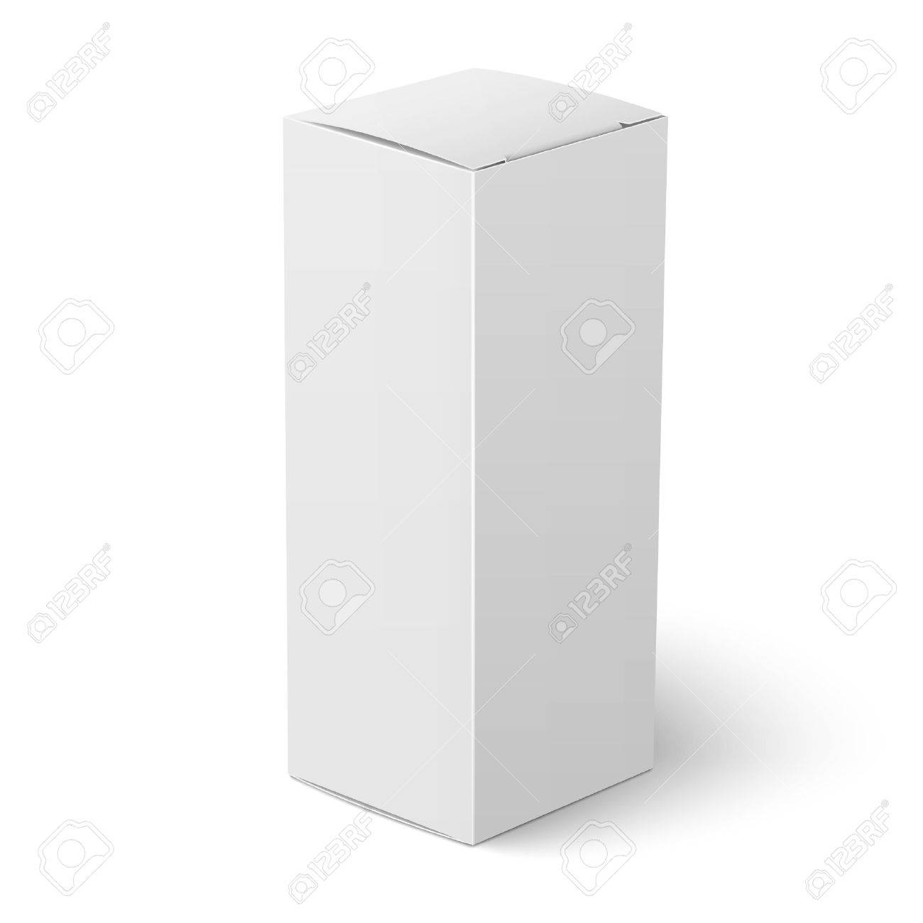 Blank Vertical Paper Or Cardboard Box Template Standing On White ...